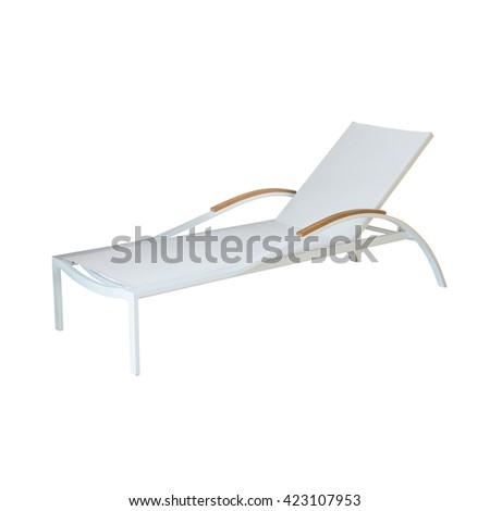 Deck chair isolated on white - stock photo