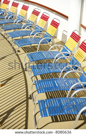 Deck Chairs on a cruise ship - stock photo