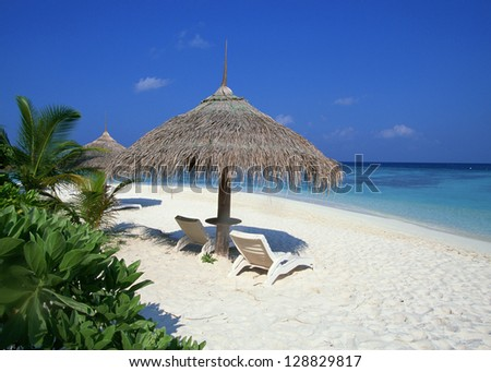 Deck chairs under umbrellas - stock photo