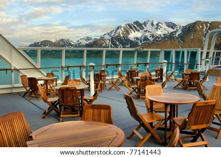Deck of a cruise ship - stock photo