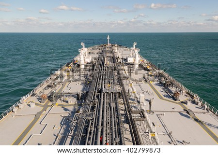 Deck of crude oil tanker in the ocean. - stock photo