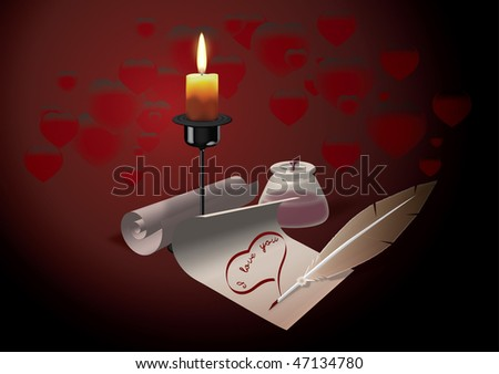 Declaration of love written in the light of candles - stock photo