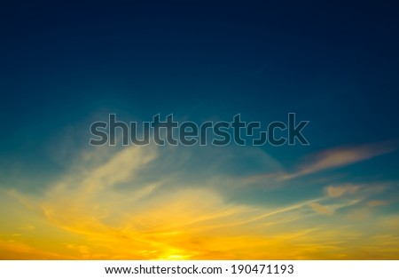 Decline in clouds of the sun with beams background - stock photo