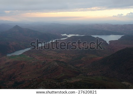 Decline over lake - stock photo