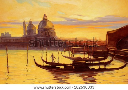 decline to venice, painting,  illustration - stock photo