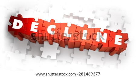 Decline - Word on Red Puzzles. 3D Render. - stock photo