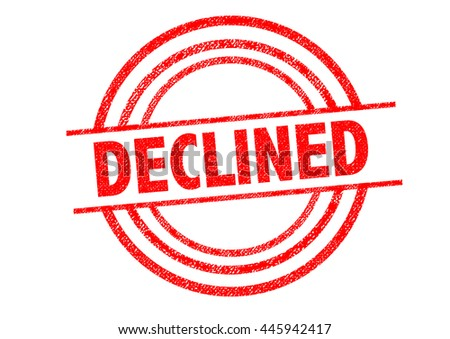 DECLINED Rubber Stamp over a white background. - stock photo