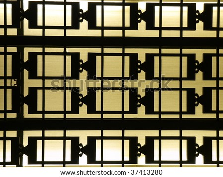 Deco window bars at the Los Angeles City owned Griffith Observatory. - stock photo