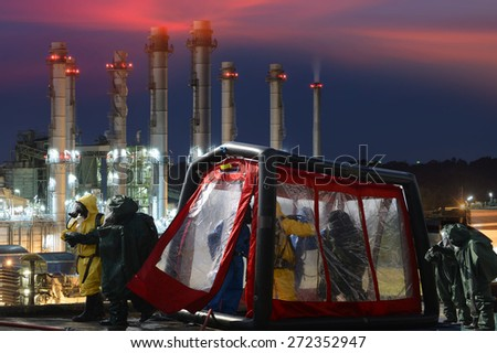 Decontamination station for emergency response Oil,refinery plant. - stock photo