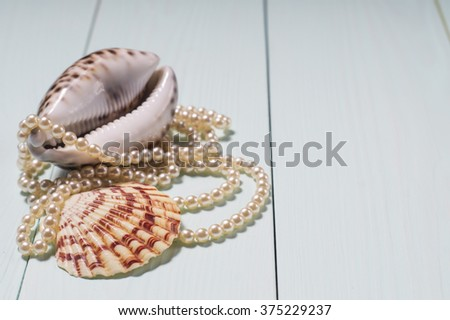 Decor of seashells  close-up on blue wooden table.Sea objects - shells, pearls. Background with sea cockleshells and pearls - stock photo