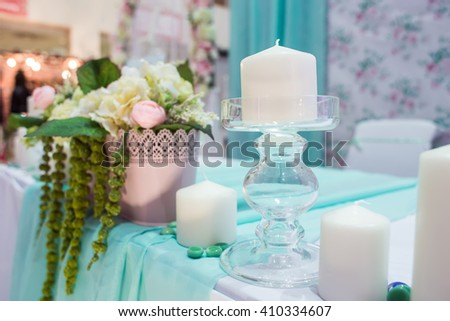 Decor table bride and groom in mint color - stock photo