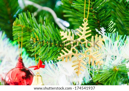 Decorate Christmas tree using as background - stock photo