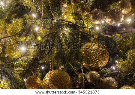 Decorated and illuminated christmas fir background - stock photo