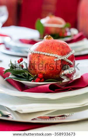 Decorated Christmas Dinner Table  - stock photo