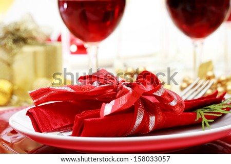 Decorated Christmas Dinner Table Setting  - stock photo