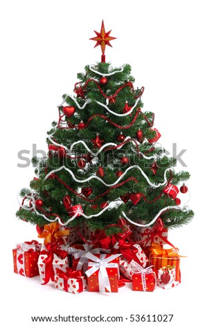 decorated Christmas fir tree with gifts on wnite - stock photo