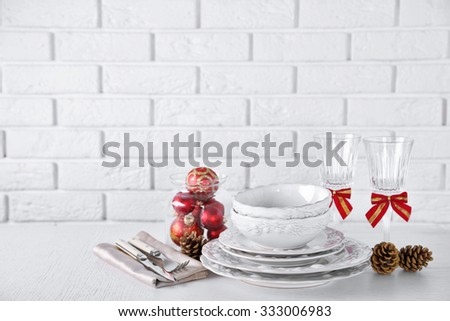 Decorated Christmas table setting. Christmas menu concept - stock photo