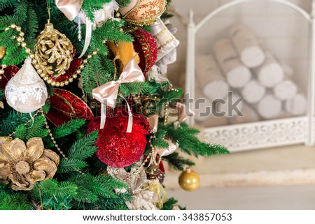 Decorated Christmas tree.  - stock photo