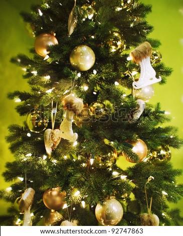 Decorated Christmas tree. - stock photo