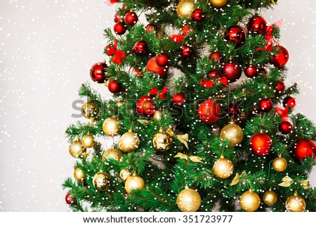 Decorated Christmas tree. Beautiful Christmas living room with Christmas tree - stock photo