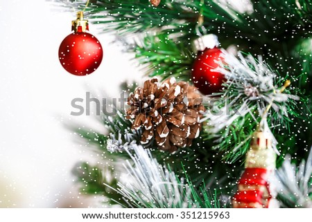 Decorated Christmas tree. Beautiful Christmas living room with Christmas tree and snow - stock photo