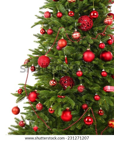 Decorated Christmas tree close-up isolated on white - stock photo