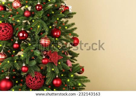 Decorated Christmas tree closeup - stock photo