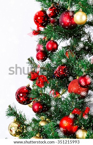Decorated Christmas tree.  stars and snow - stock photo