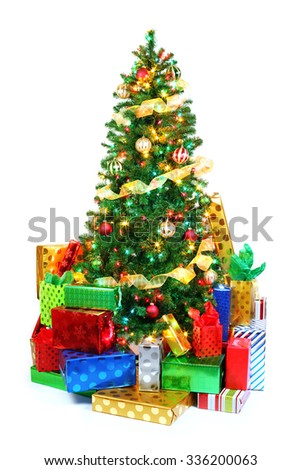 Decorated Christmas tree surrounded by colorful presents. Isolated on white. - stock photo