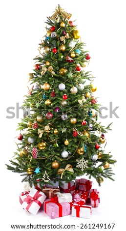 Decorated Christmas tree with presents under it isolated on white - stock photo