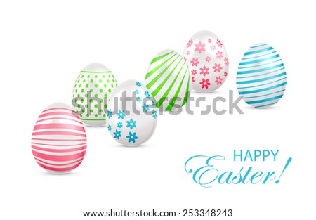 Decorated Easter eggs with colorful elements on white background, illustration. - stock photo