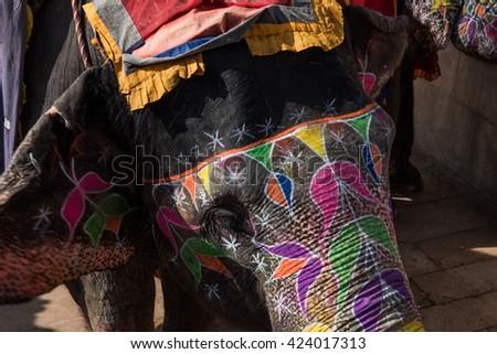 Decorated Elephant in Jaipur - stock photo