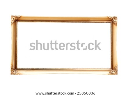 Decorated, empty picture frame isolated on a white - stock photo