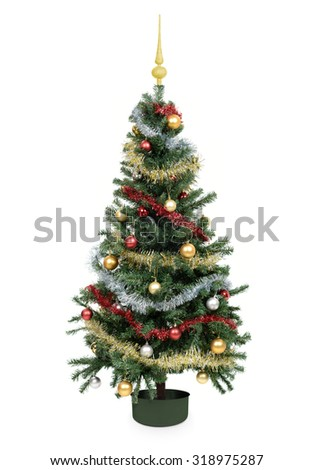 Decorated festive christmas tree with baubles - stock photo