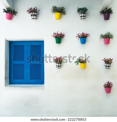 Decorated flower pots on white wall with blue windows - stock photo