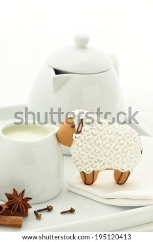 Decorated homemade gingerbread lamb cookie - stock photo