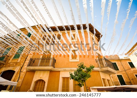 Decorated house in Santanyi, Mallorca, the Balearic Islands, Spain - stock photo