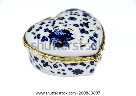 Decorated Jewelry box isolated on white - stock photo