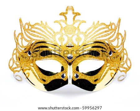 Decorated mask for masquerade on white background. Great for halloween brochures and advertisements. Unauthorized homemade paper product. - stock photo