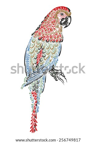 Decorated parrot bird macaw ara with ornament pattern - stock photo
