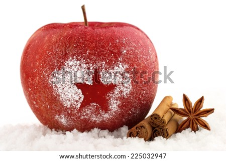 decorated red apple and spices in the snow - stock photo