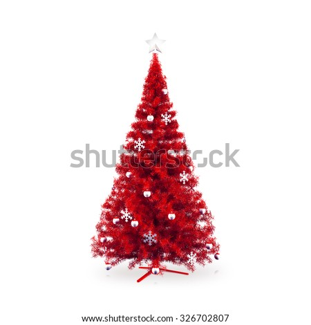 Decorated red Christmas tree on white background - stock photo