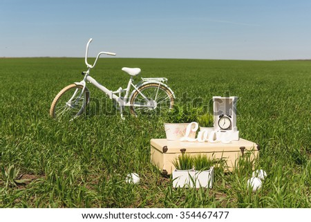 decorated suitcase and bicycle in field - stock photo