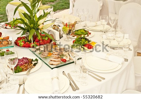 decorated table for the wedding - stock photo