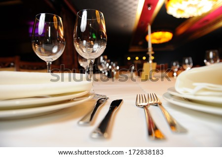 decorated table in the glamorous cafe - stock photo