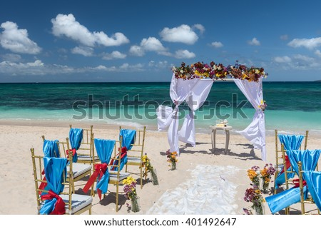 decorated wedding arch  on Puka beach at Boracay island Philippines  - stock photo