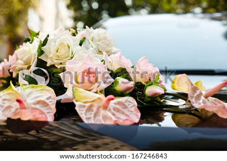 Decorated wedding car - stock photo