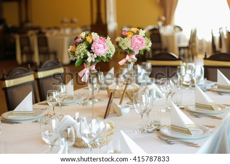 decorated wedding table - stock photo