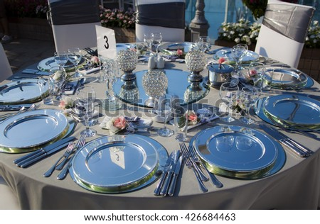 Decorated wedding tables. - stock photo