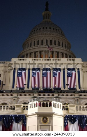 Decorated West Front on the United States Capitol before the Inauguration of Barack Obama. Jan 20 2009. - stock photo
